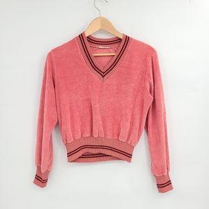 VNTG Velvet Velour Like V-neck Sweater